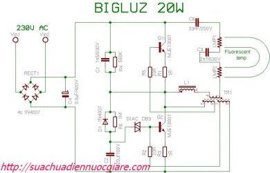 Sơ đồ mạch điện bóng đèn compact
