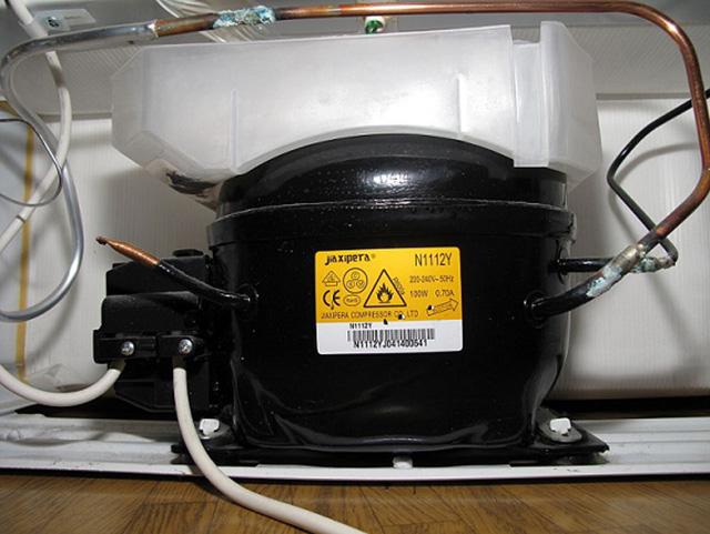 Máy nén là bộ phận chúng ta có thể thấy thường xuyên được đặt ở khoang dưới tủ