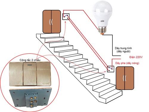 Sơ đồ mạch điện cầu thang nhà 5 tầng